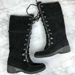 Khombu Black Suede Lace Up Tall Boots  Insulated